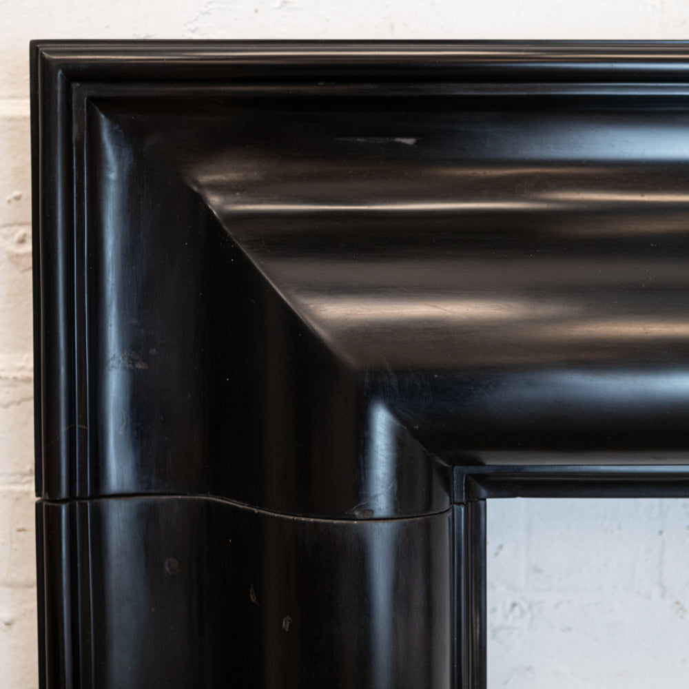 Reclaimed Belgian Black Marble Bolection Chimneypiece with Fossil Inclusions