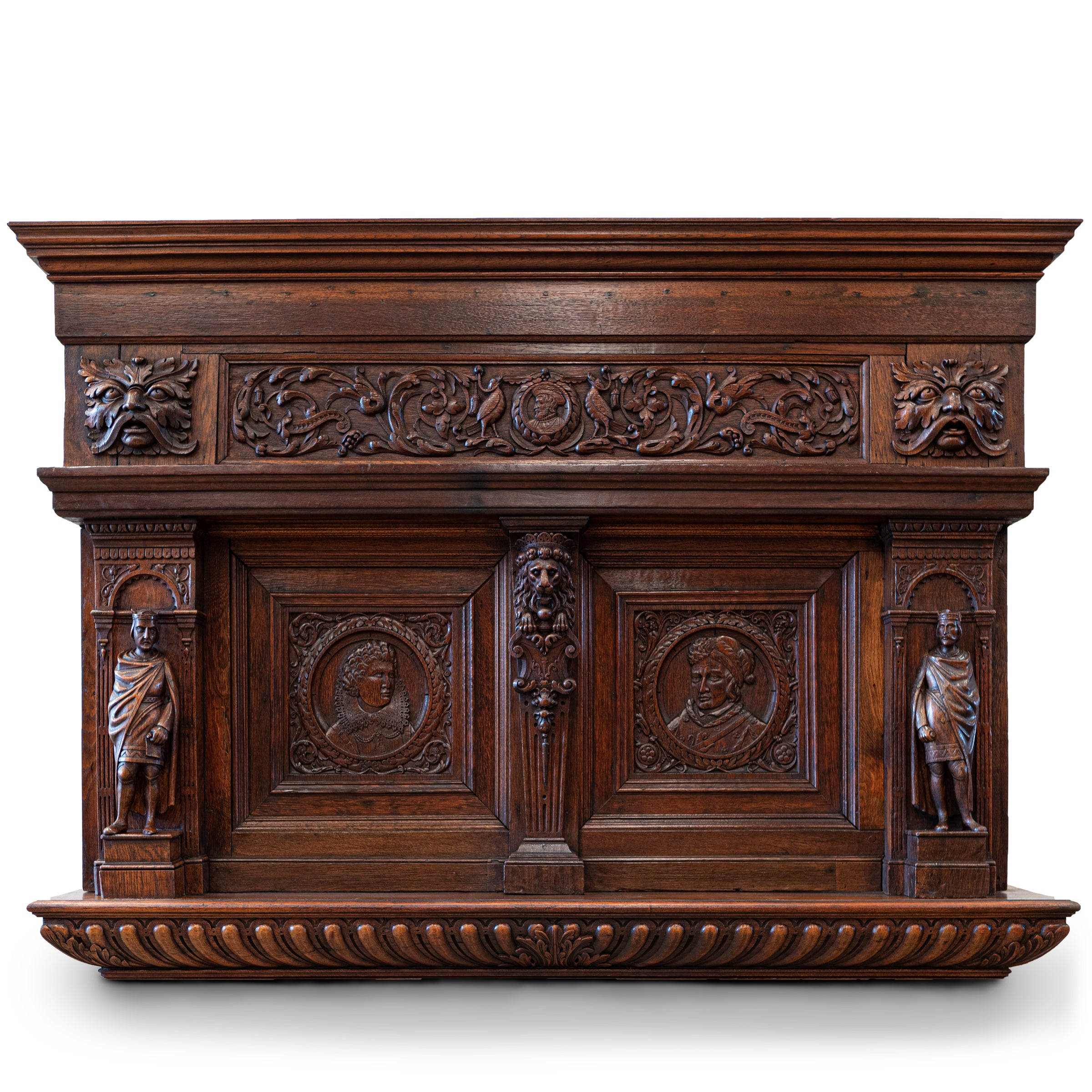 Antique Heavily Carved Oak Jacobean Style Wooden Element , Overmantle