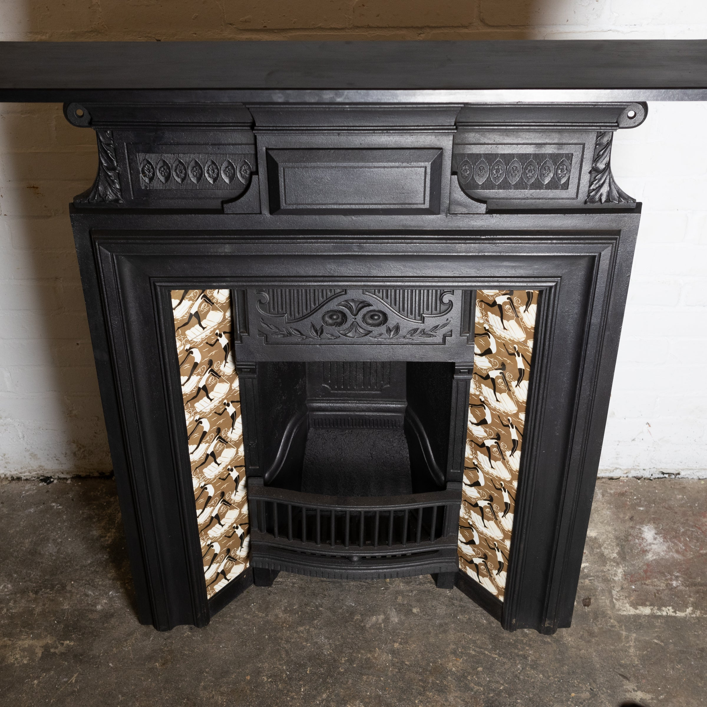 Antique Cast Iron Combination Fireplace with Swimming Lady Tiles