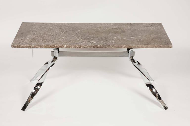 Vintage Mid-Century Marble Coffee Table with Chrome Base