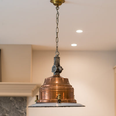 Pair of Industrial Copper & Brass Maritime Pendant Lights
