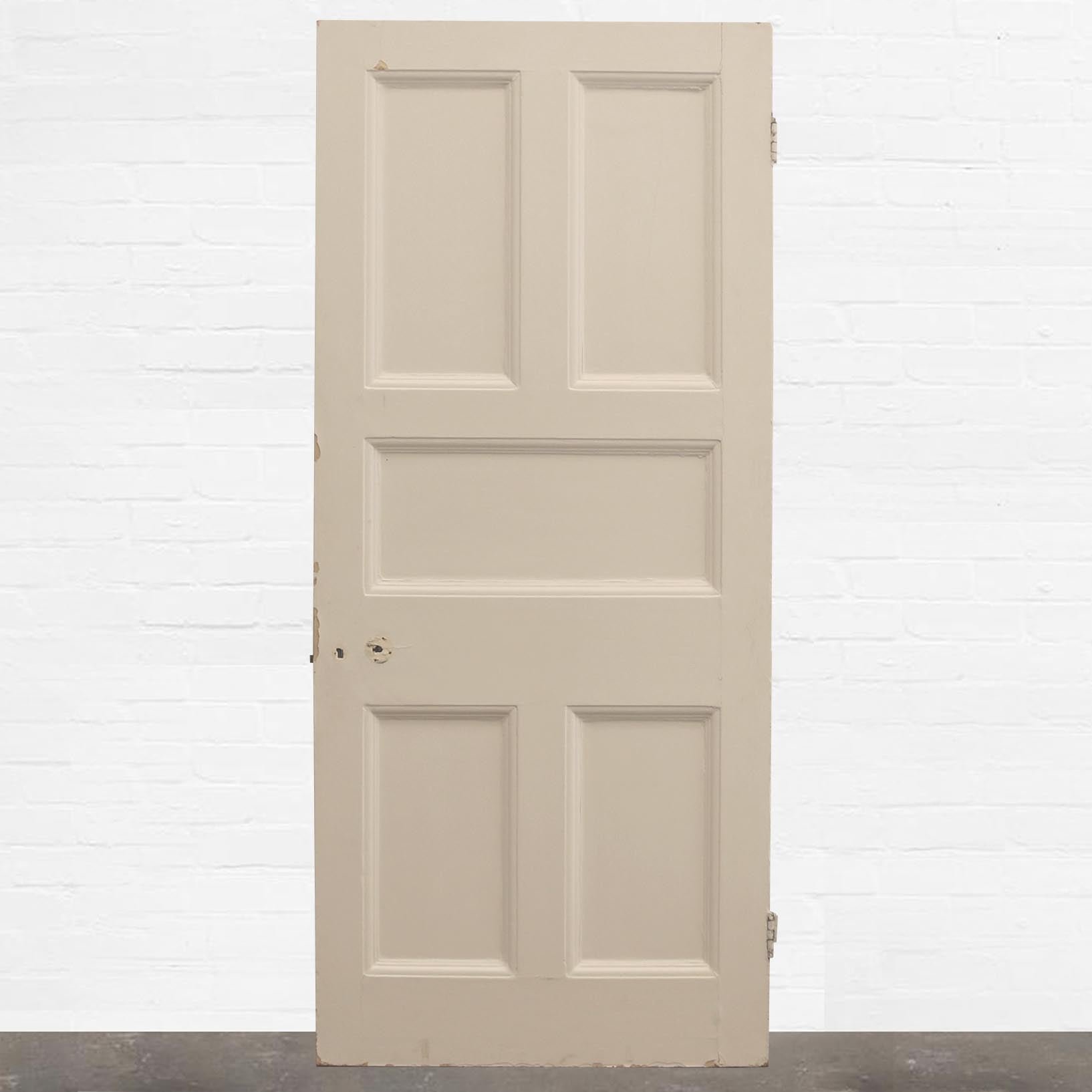 Antique Victorian Five Panel Door - 209.5cm x 90cm - The Architectural Forum