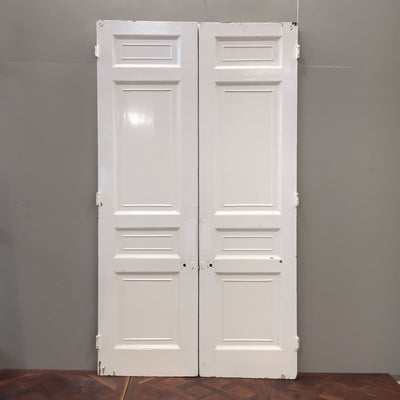 Antique Victorian Pine Double Doors - 150cm x 273cm - architectural-forum