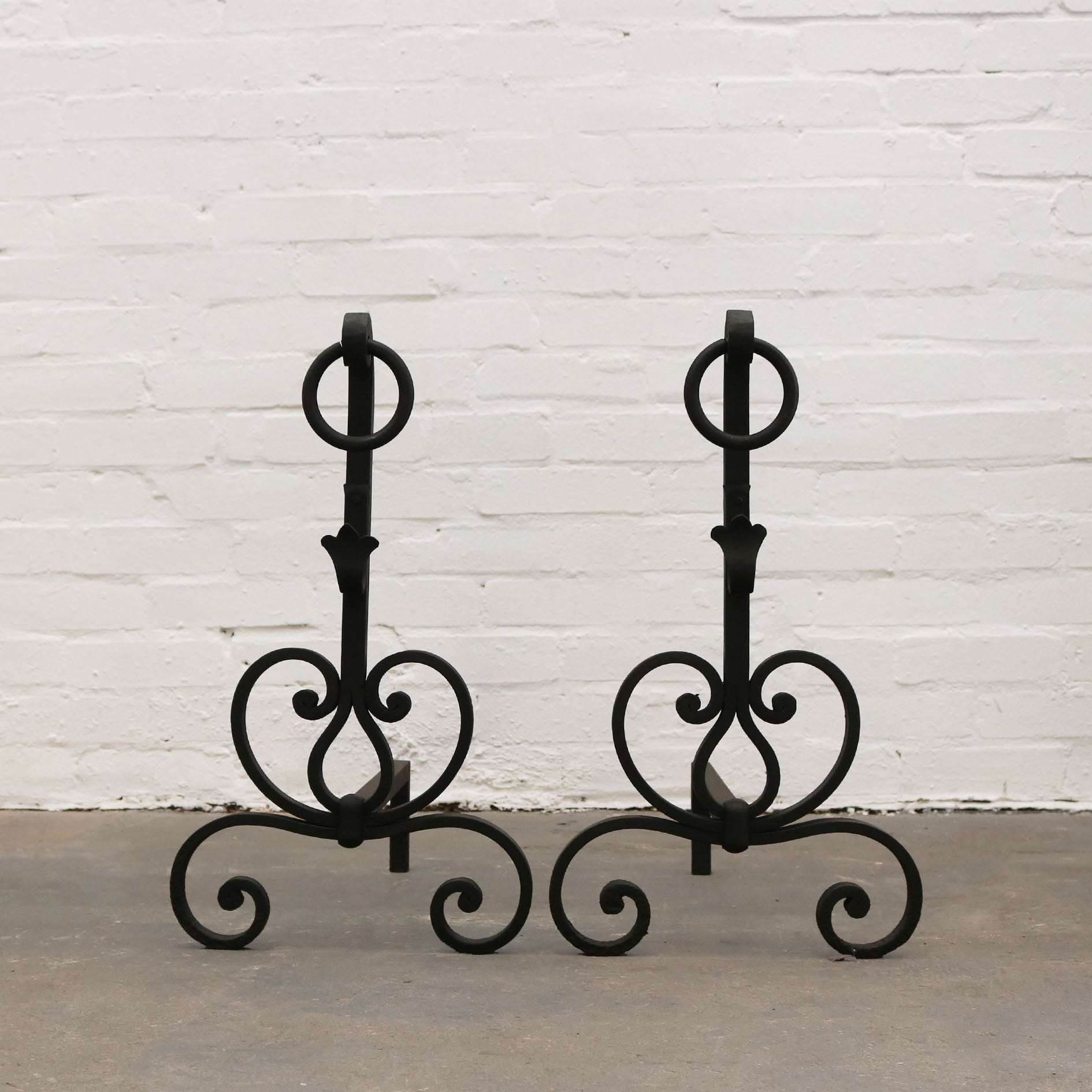 Antique Wrought Iron Firedogs - The Architectural Forum