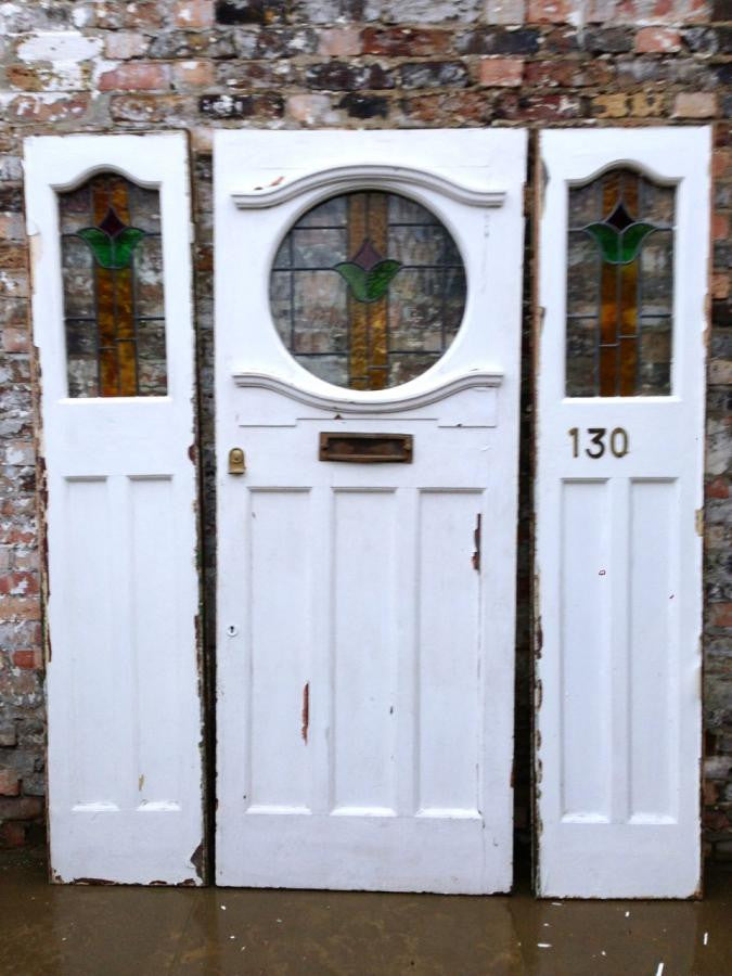 Antique Edwardian Stained Glass Front Door - architectural-forum