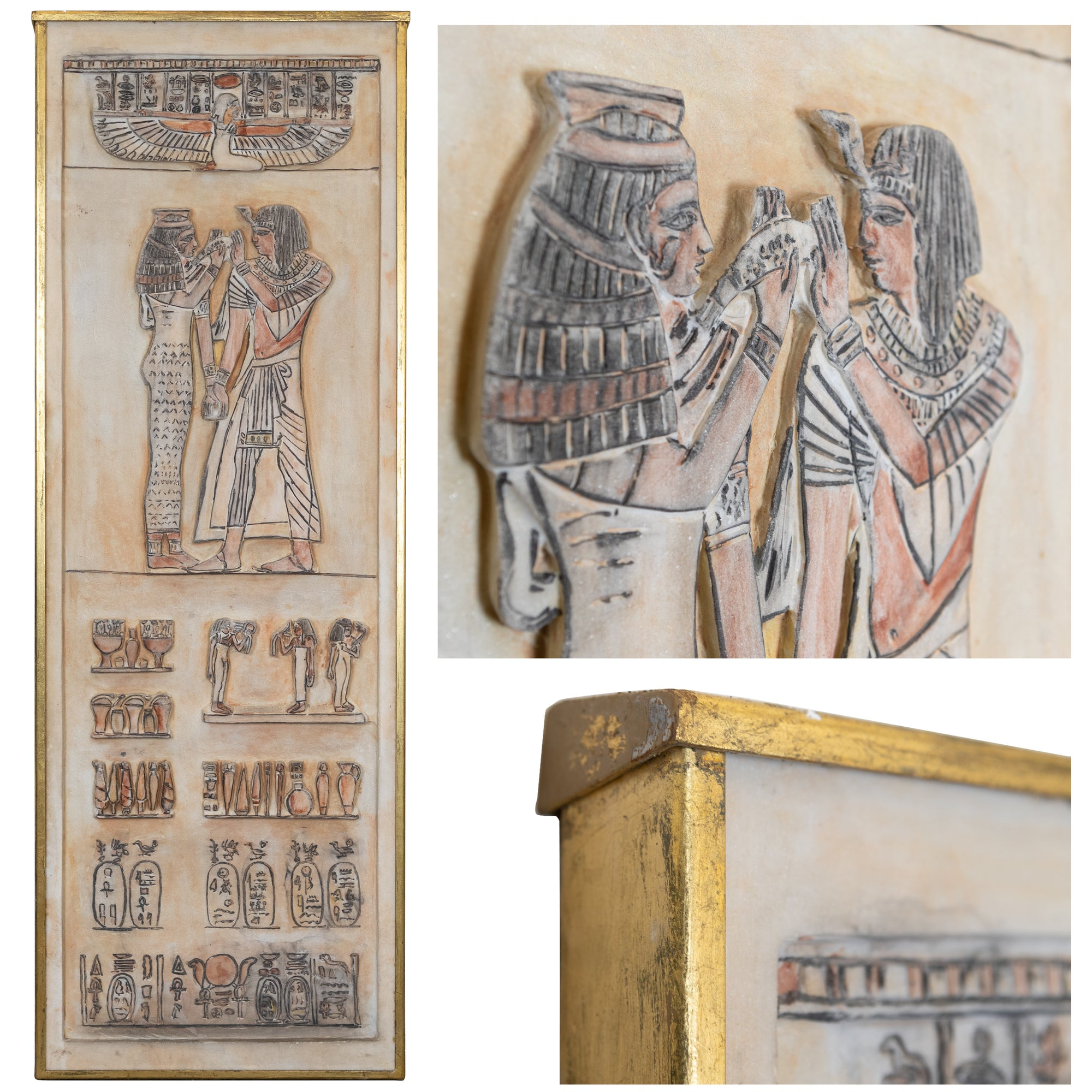 Stone Panel with Carved Ancient Egyptian Hieroglyphics