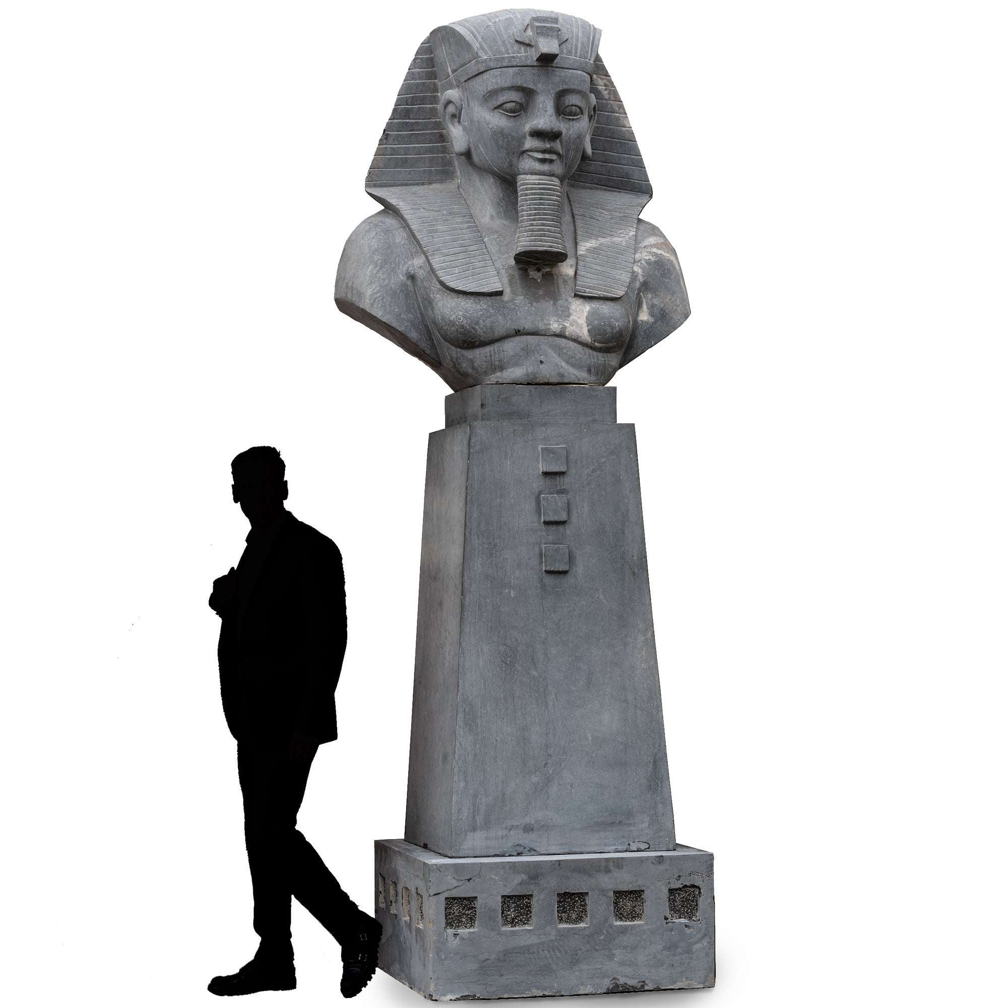 Monumental Egyptian Pharaoh Marble Statue on Plinth