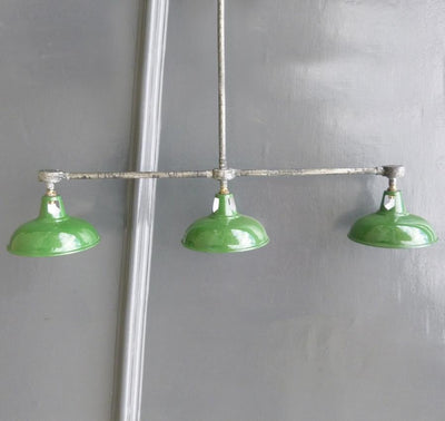 Vintage Industrial Enamel Triptych Light