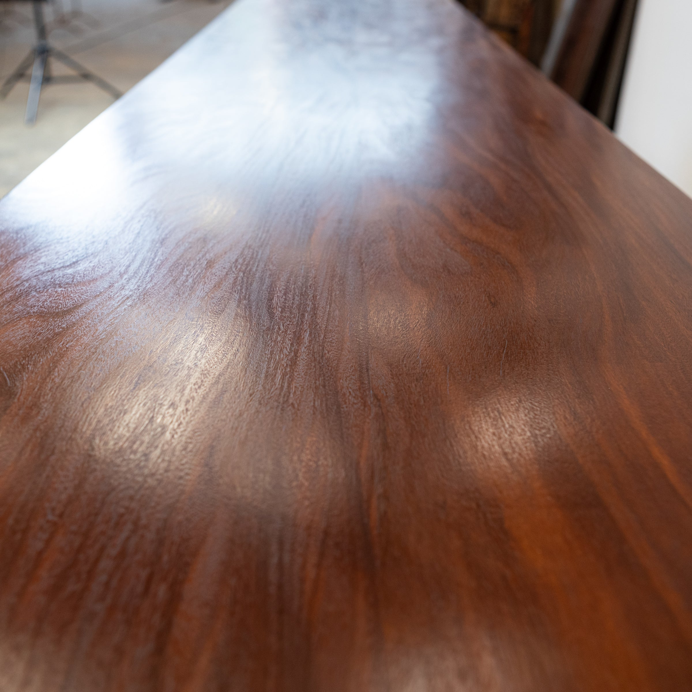 3.5m Long Table With Afrormosia Wood Top & Electrical Insulator Legs