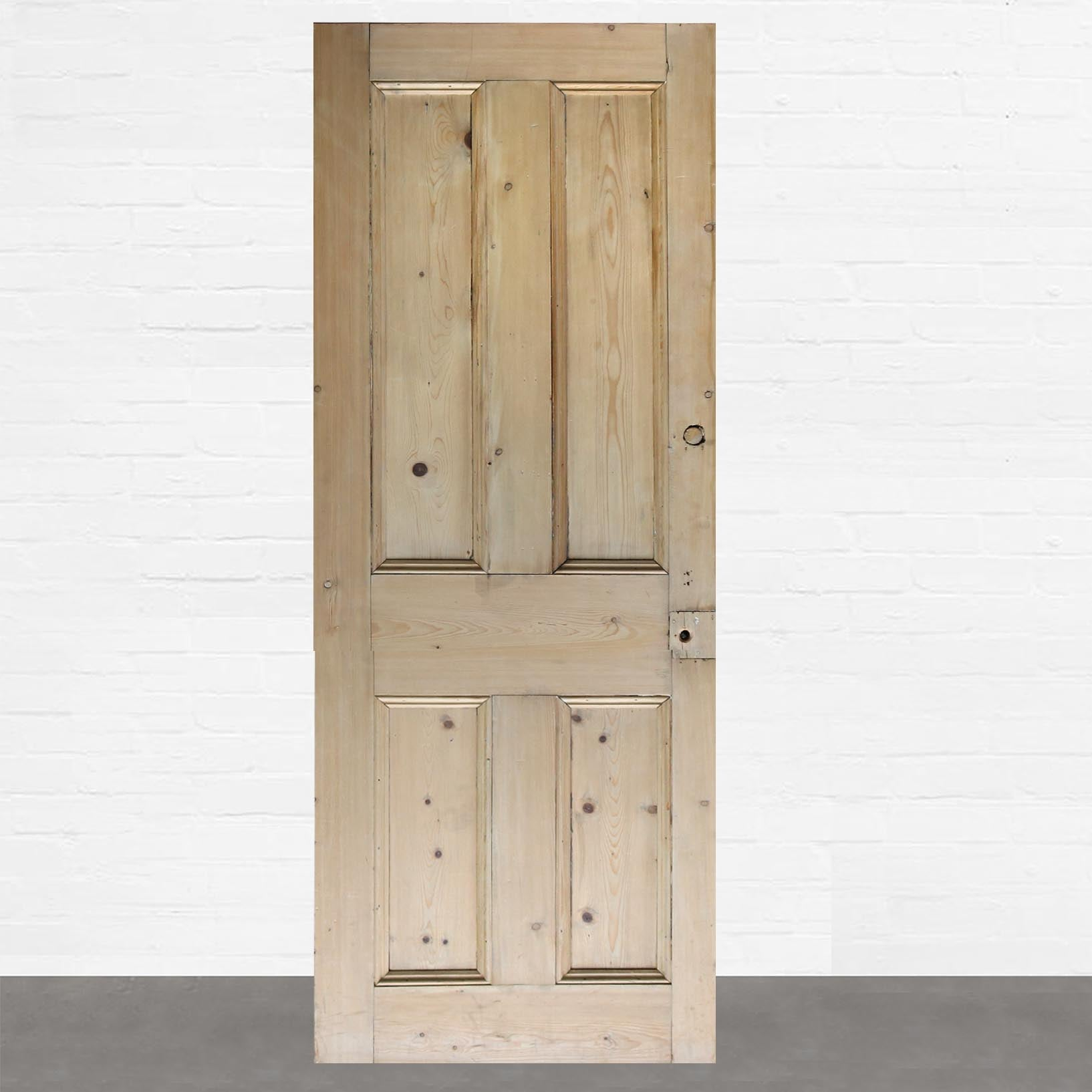 Reclaimed Solid Pine Door Stripped - 186.5cm x 67.5cm - architectural-forum