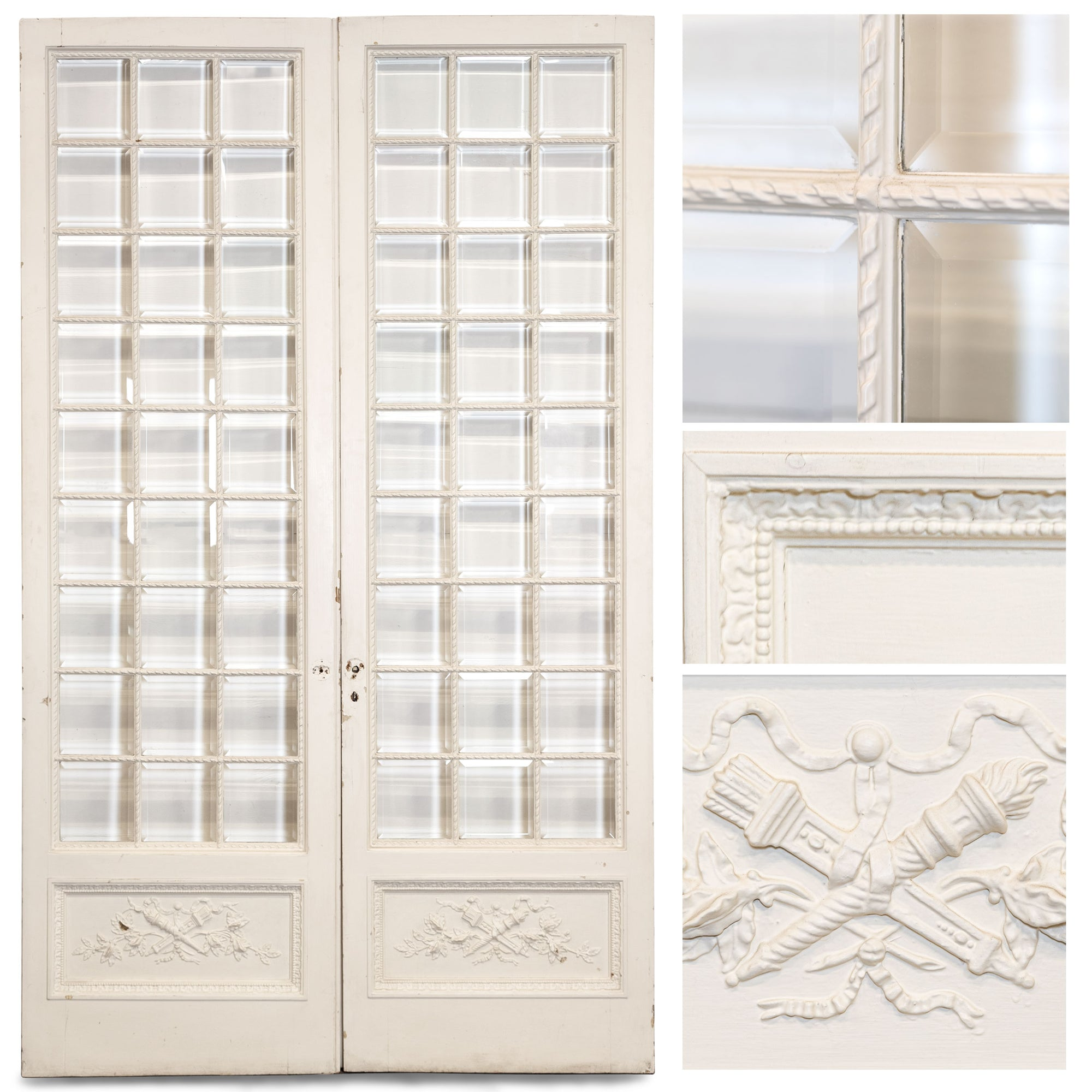 Antique Pine & Gesso Glazed Double Doors (3 pairs available)