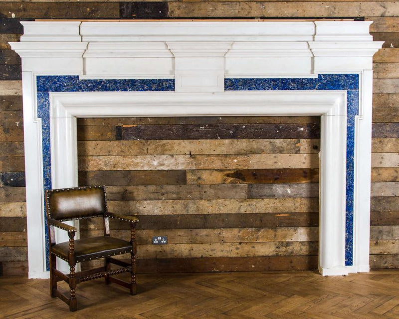 Antique grand large fireplace surround with lapis lazuli