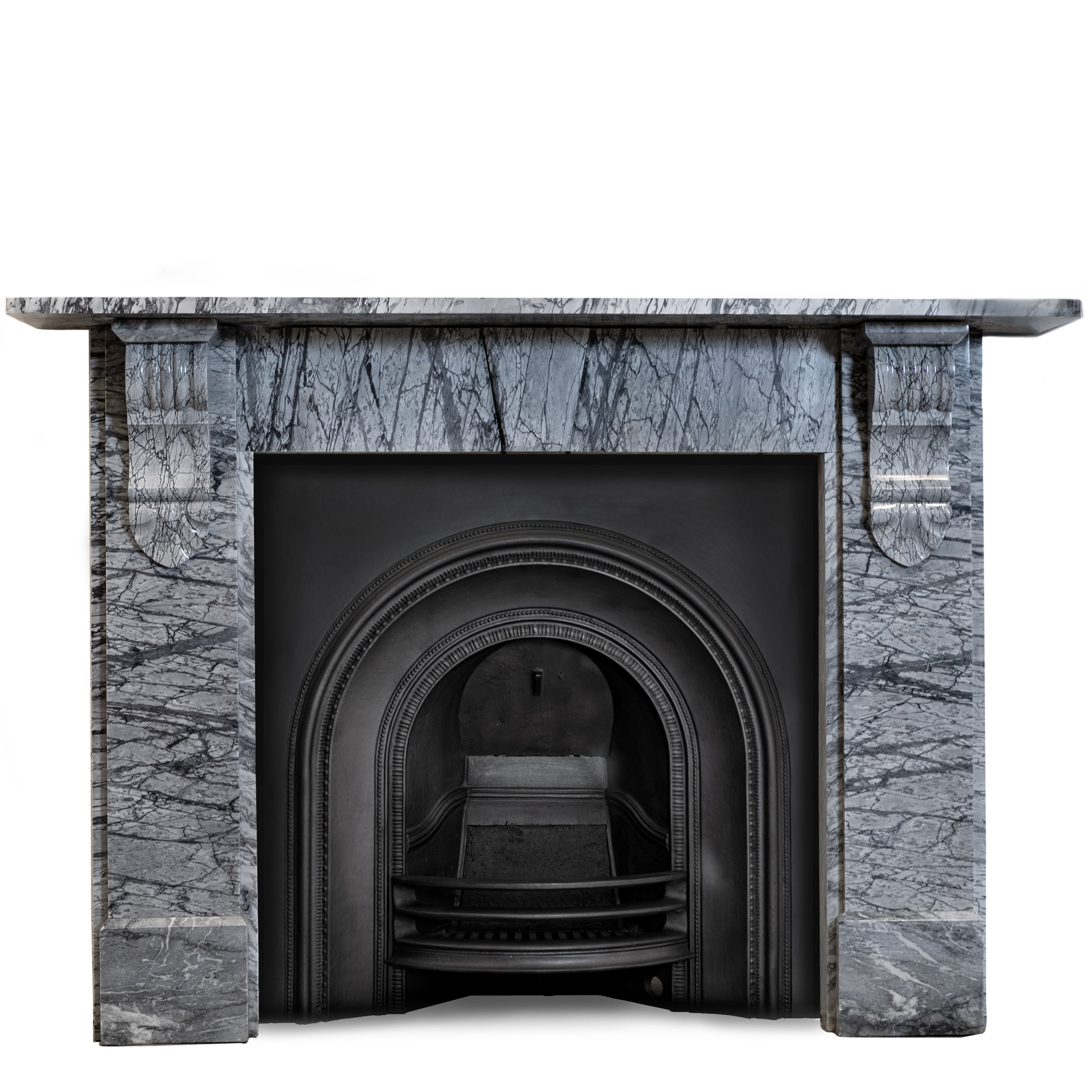 Bardiglio Veined Grey Marble Fireplace Surround With Corbels The