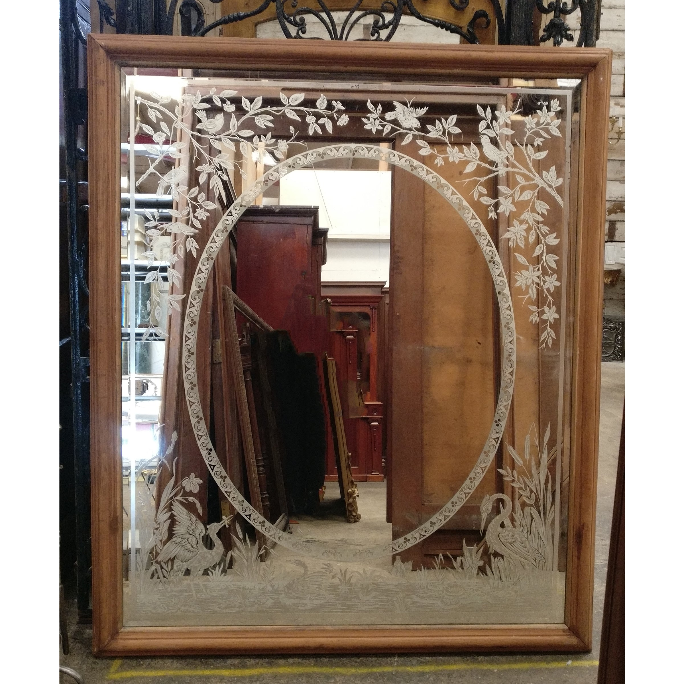 Large Antique Victorian Etched Mirror With Wooden Frame The Archi