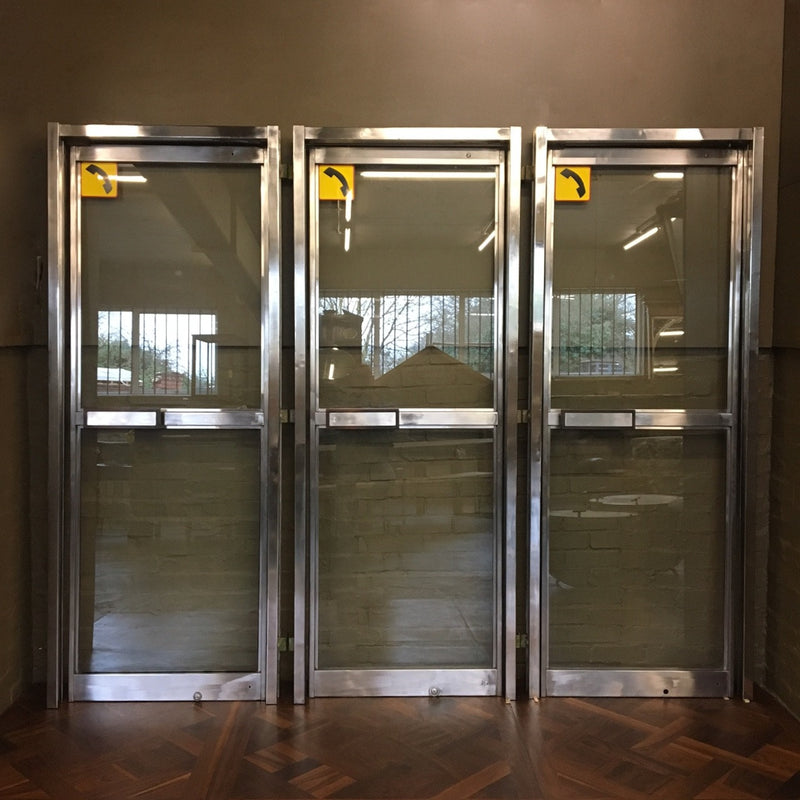 Polished chrome telephone doors