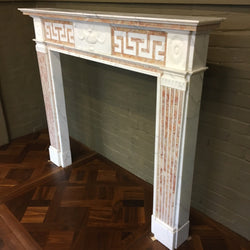 Antique Statuary and Spanish Brocatelle Marble Fireplace Surround