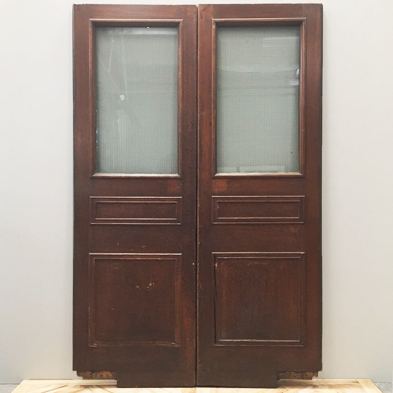 Reclaimed Oak Three Panel Double Doors - 137cm x 212cm - architectural-forum