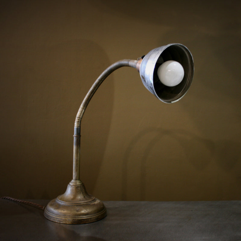 Brass and steel desk lamp