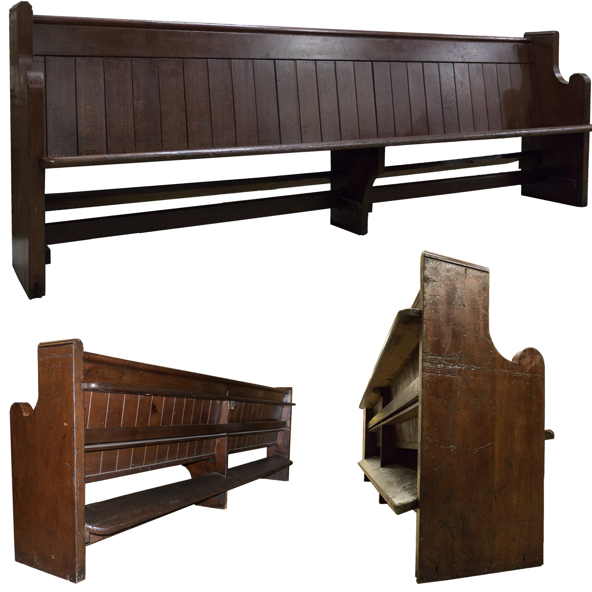 Reclaimed Antique Victorian Pine Pew Church Bench
