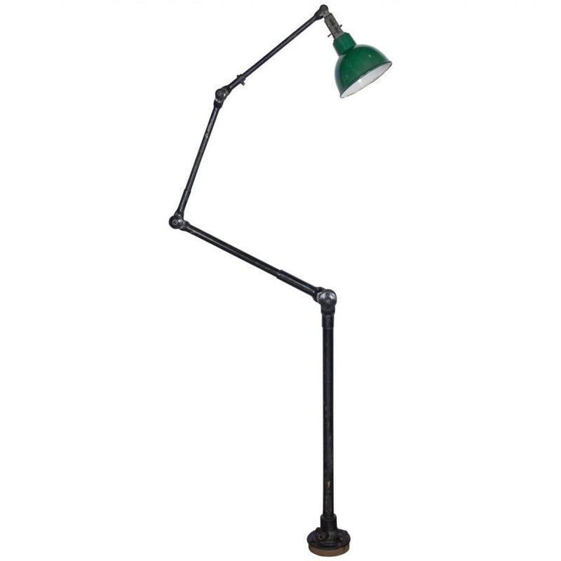 Vintage Industrial Articulated Floor Light with Enamel Shade