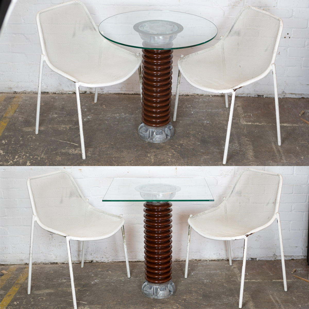 Upcycled Industrial Glass Top Electrical Insulator Table | The Architectural Forum