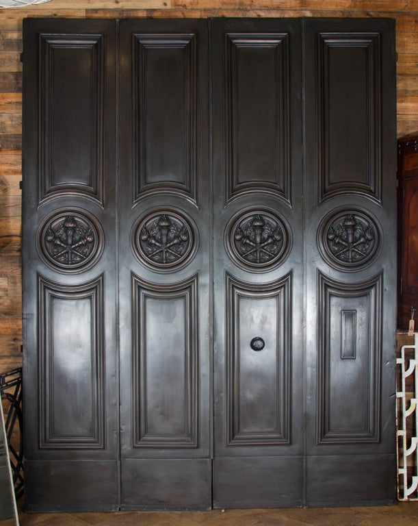 Bronze and mahogany doors