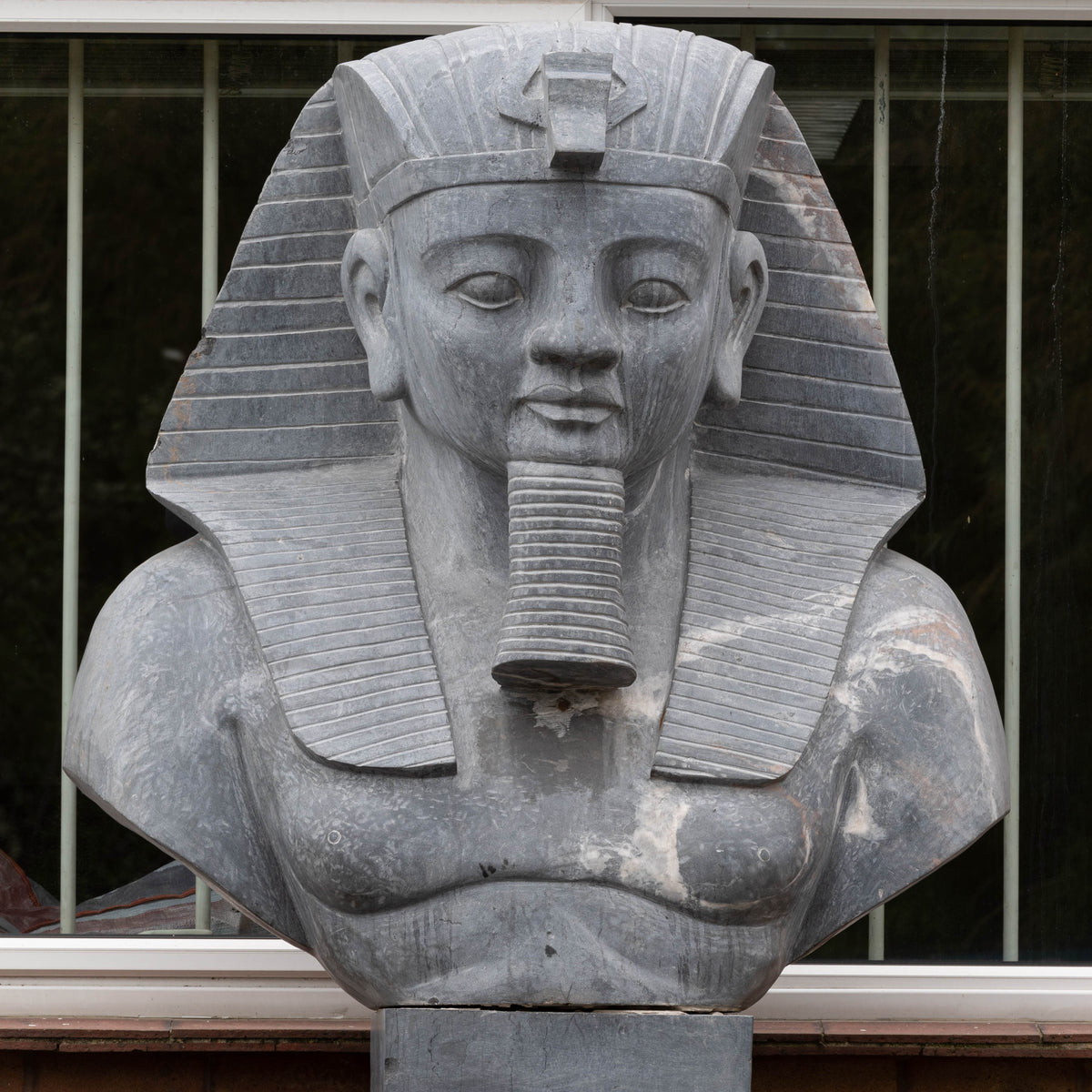 Monumental Egyptian Pharaoh Marble Statue on Plinth | The Architectural Forum