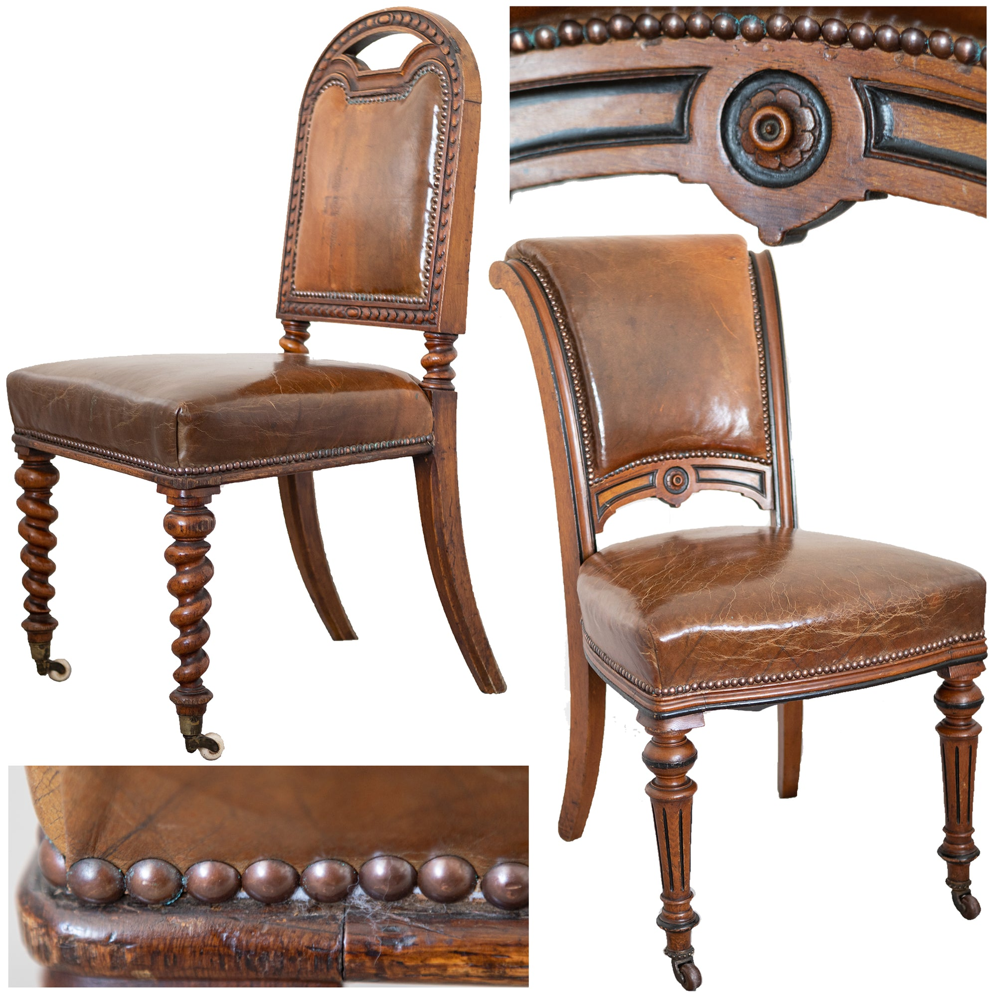 Antique Victorian Oak & Leather Dining Chairs (set of 10) | The Architectural Forum