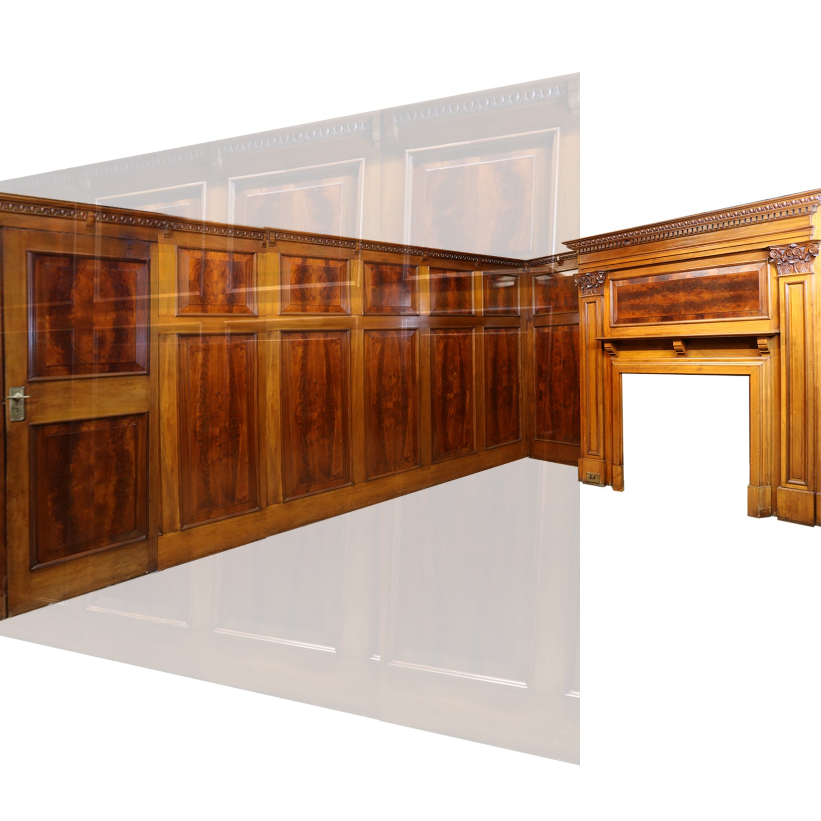 Complete Flamed Mahogany Antique Panelled Room