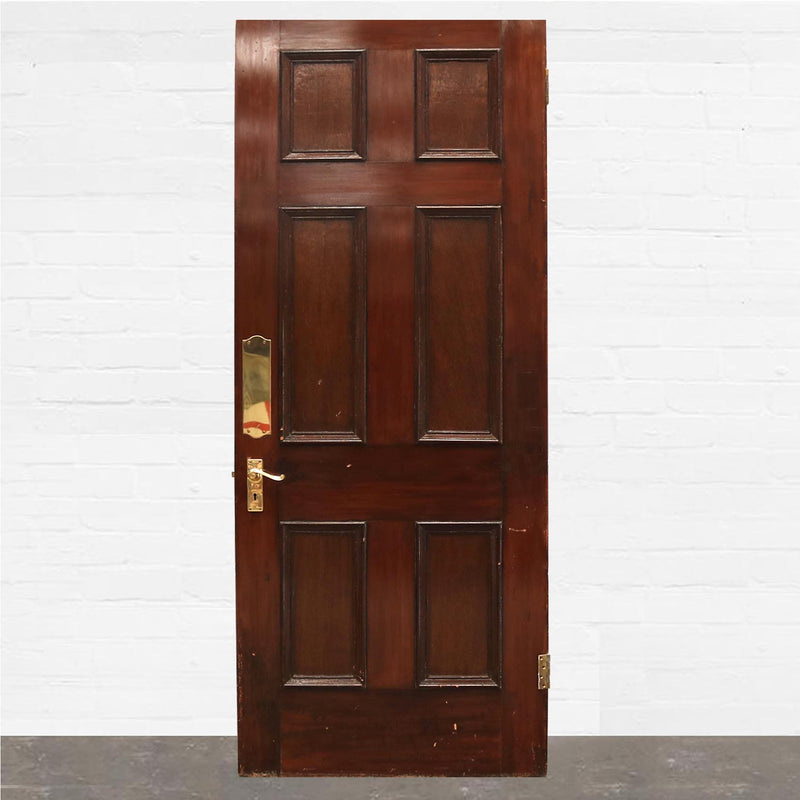 Antique Georgian Mahogany Six Panel Door - 106cm x 226cm - The Architectural Forum