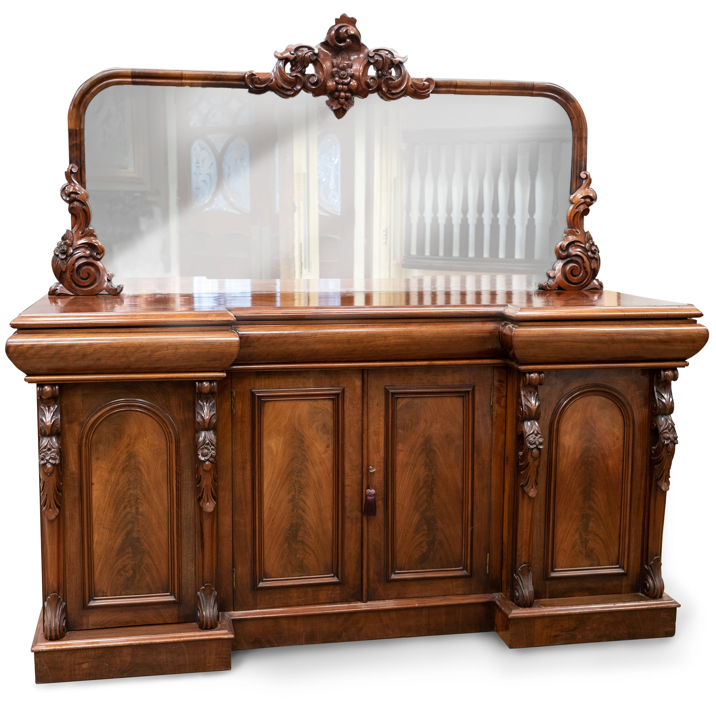 Antique Ornate Carved Mahogany Sideboard with Mirror and Secret Drawers