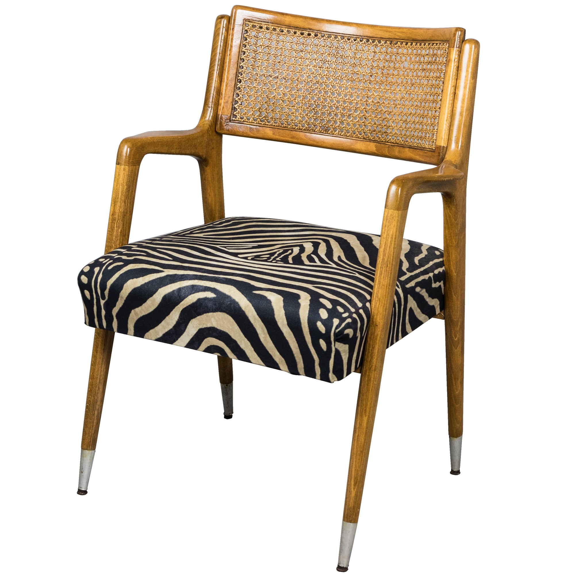 Mid-Century Zebra Print Teak Accent Chair | The Architectural Forum