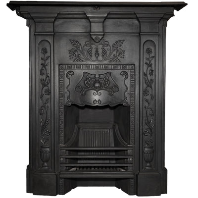 Original Art Nouveau, Edwardian Cast Iron Combination Fireplace