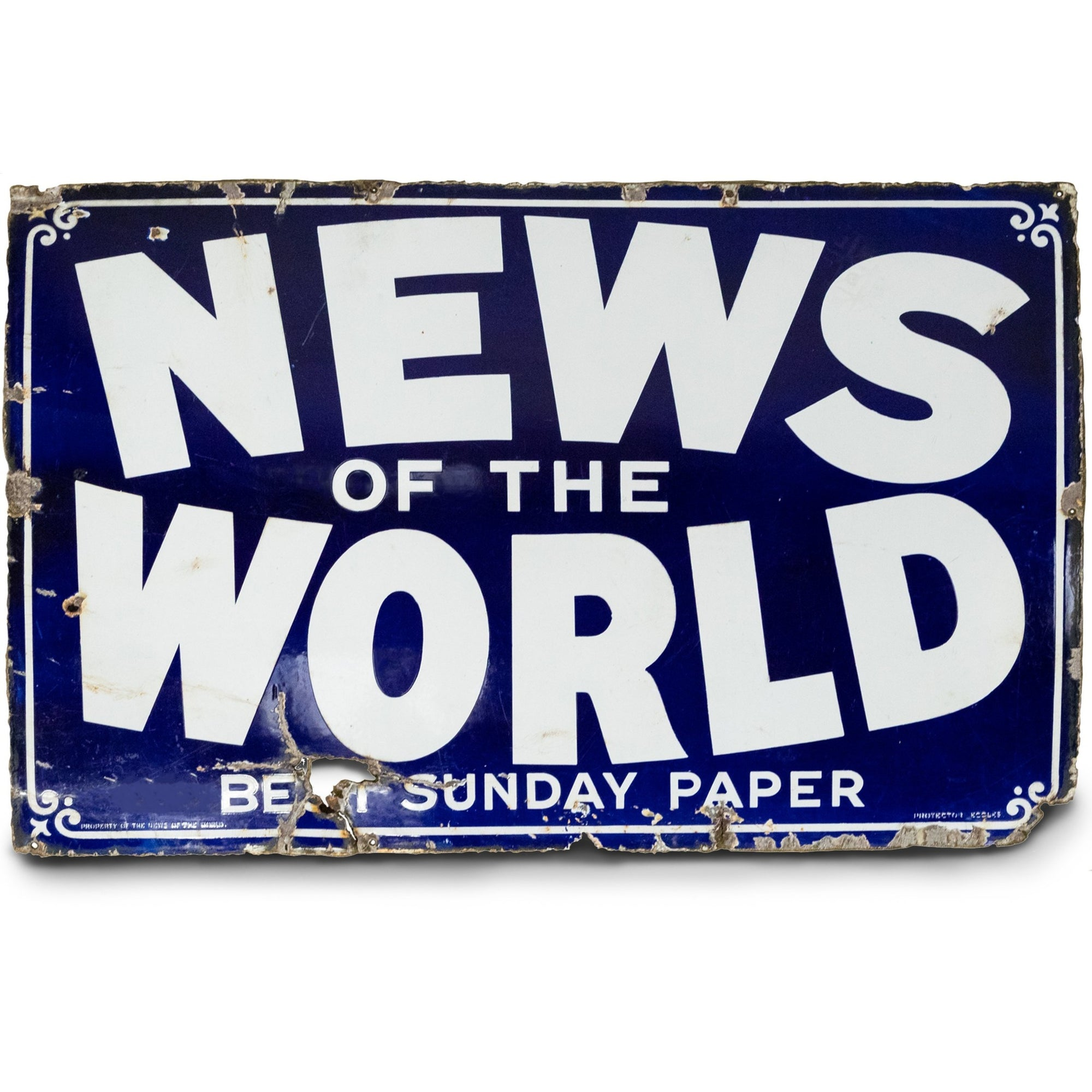 Vintage Enamel News Of The World Newspaper Sign