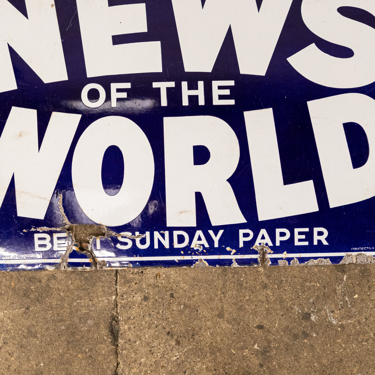 Vintage Enamel News Of The World Newspaper Sign | The Architectural Forum