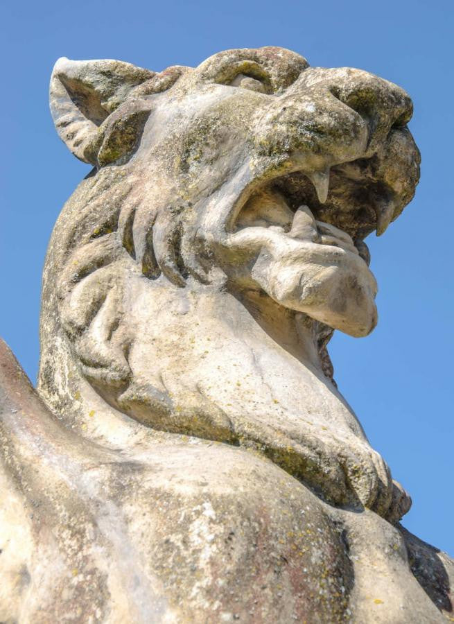 Winged lion on plinth