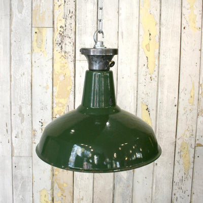 Vintage Industrial Green Enamelled Light Shades - architectural-forum