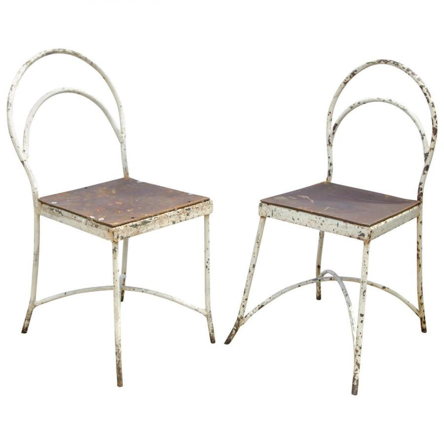 Pair of Post-War Utility Painted Chairs - architectural-forum