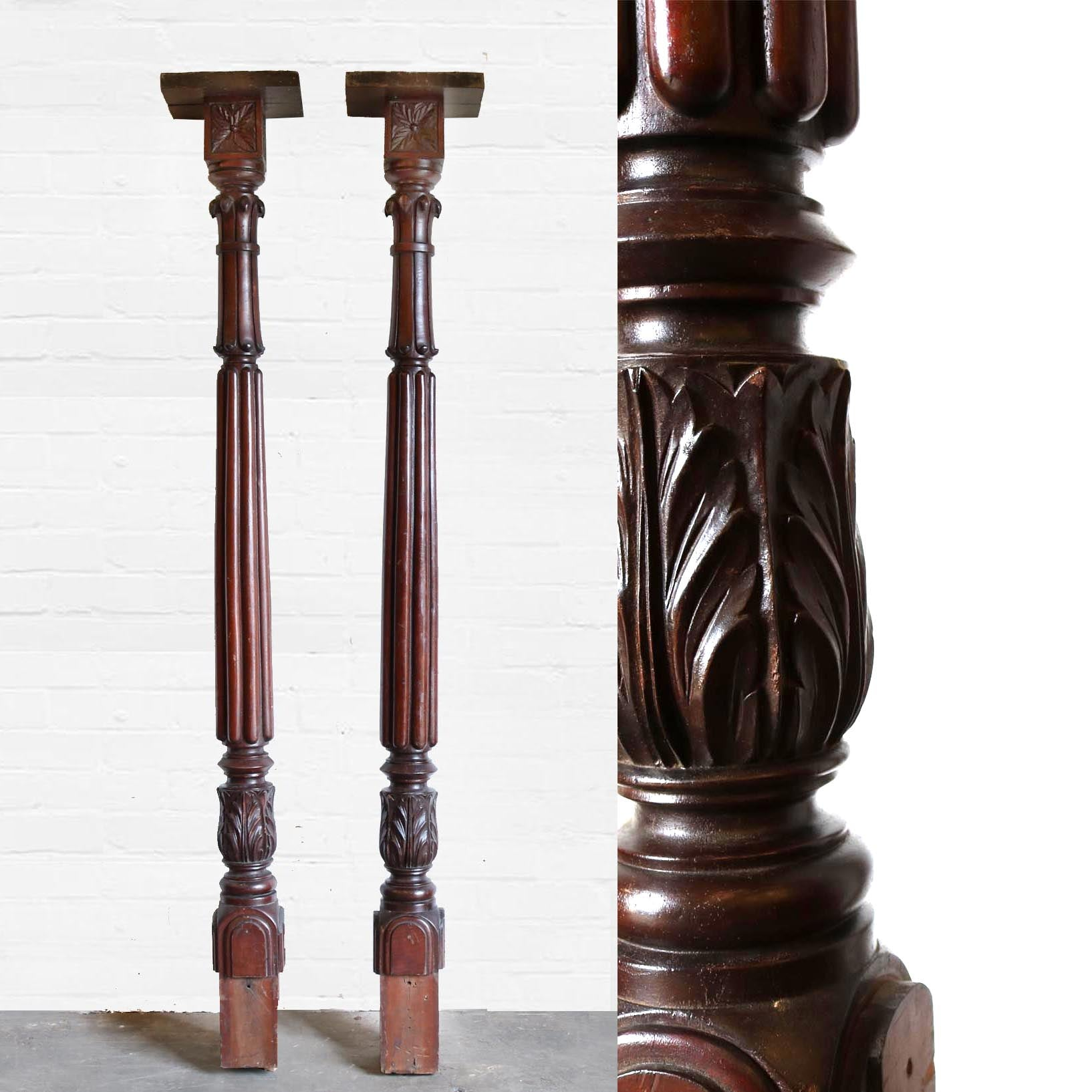 Victorian Carved Mahogany Pillars