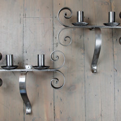 Polished Iron Neo-Gothic Sconces