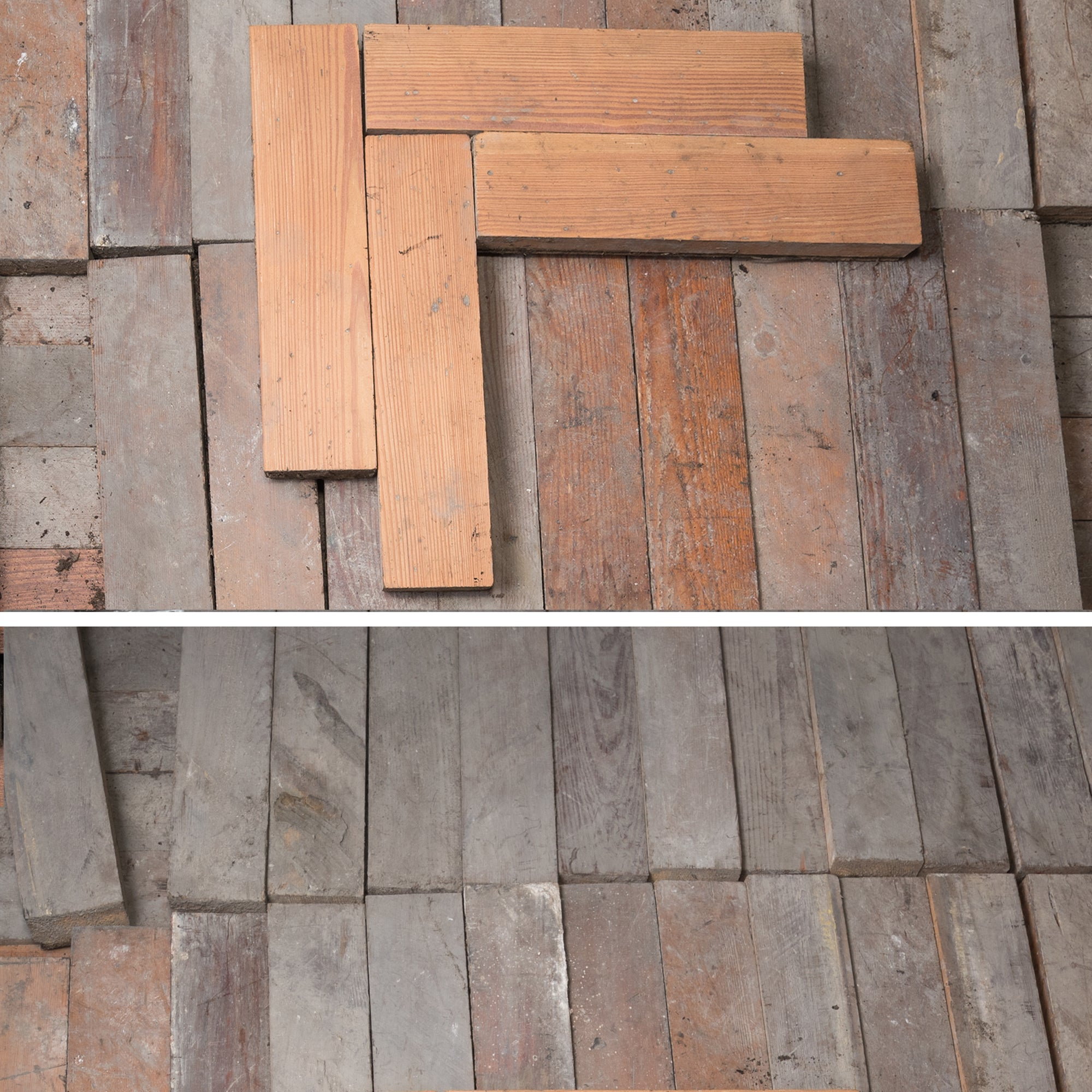 18 sqm of Antique Reclaimed Pine Parquet Flooring