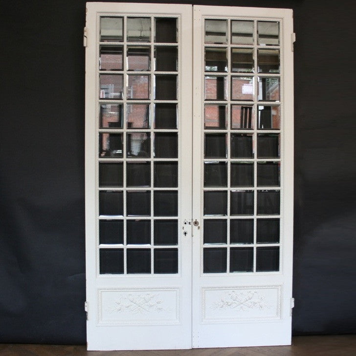 Antique Pine & Gesso Glazed Double Doors - architectural-forum