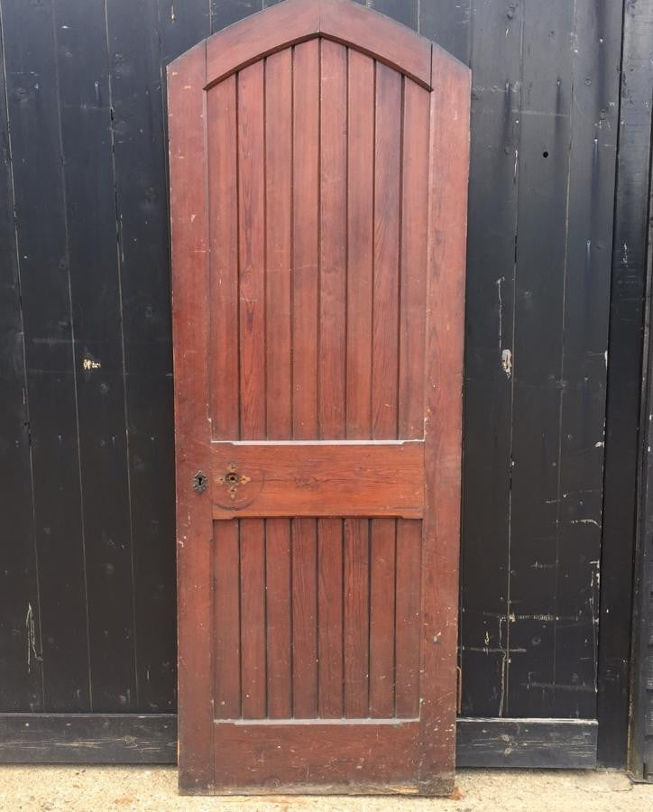 Antique Pitch Pine Arched Door - 218cm x 79cm - architectural-forum