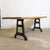Antique Plank Top Table With Cast Iron Legs