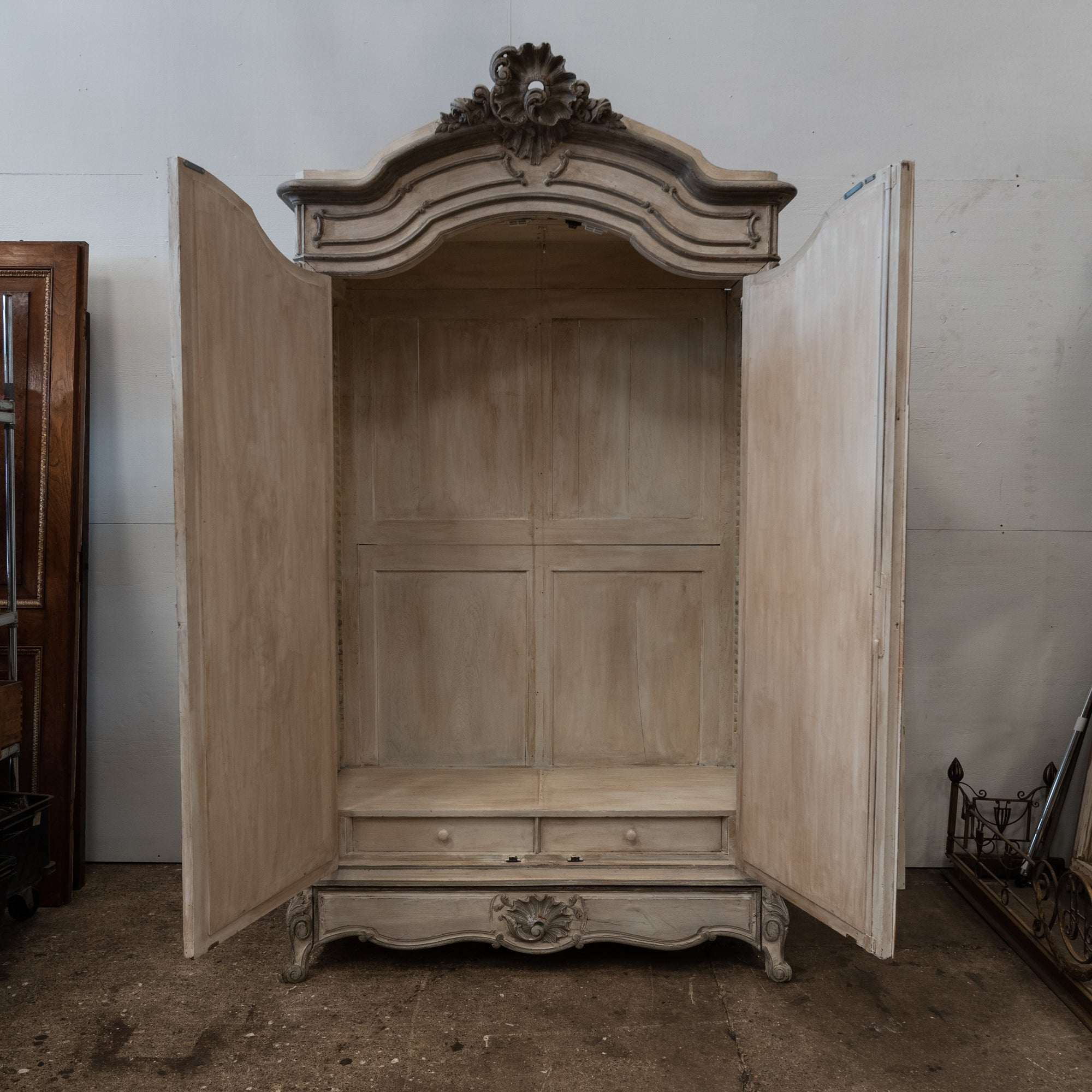 Antique French Carved Oak Louis XV Style Armoire with Mirrored Doors | The Architectural Forum