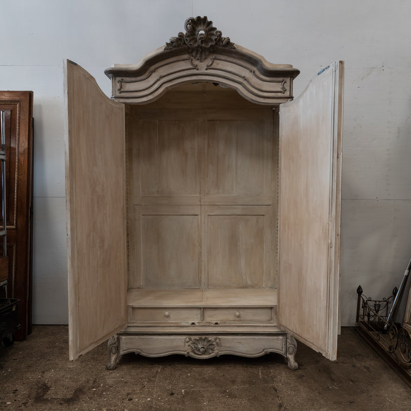 Antique French Carved Oak Louis XV Style Armoire with Mirrored Doors
