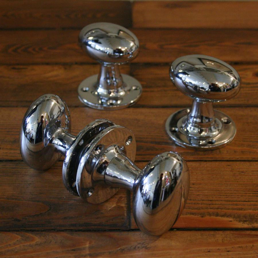 Edwardian Style Chrome Door Pulls (55mm plate) - The Architectural Forum