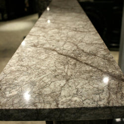 Grey veined marble fireplace surround