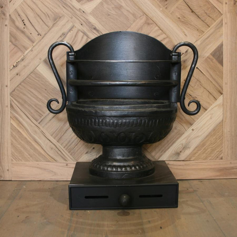 Regency Style Cast Iron Urn Fire Basket