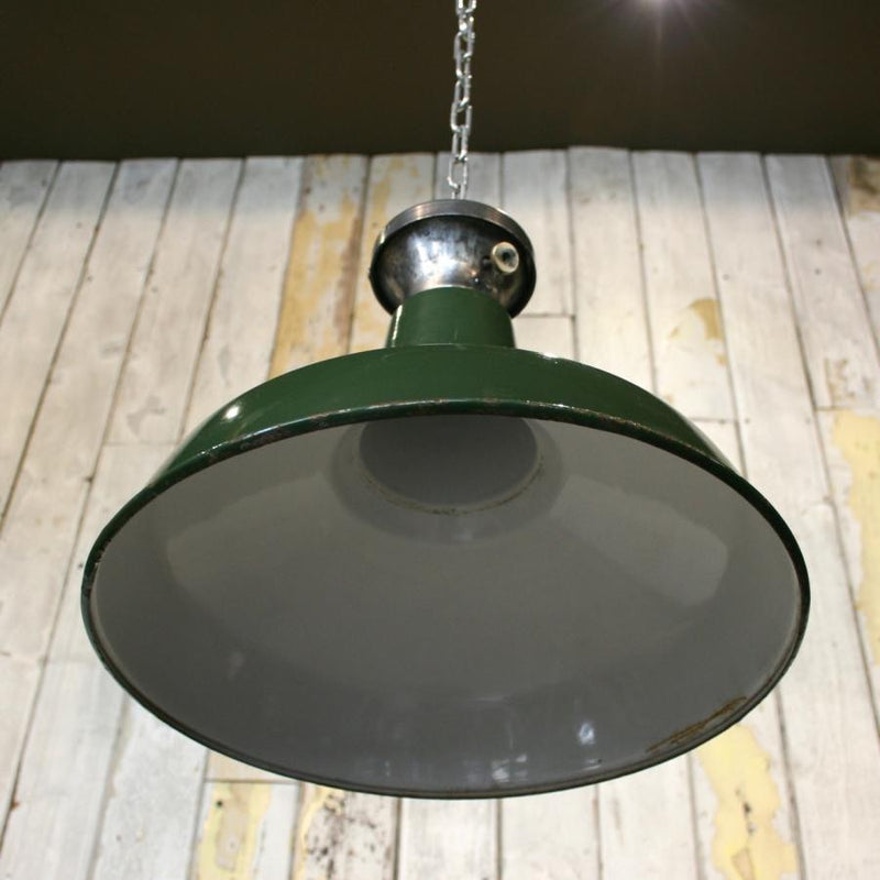 Vintage Industrial Green Enamelled Light Shades